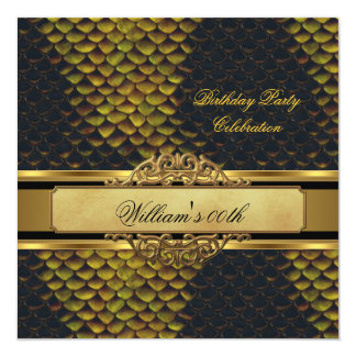 Mans Snakeskin Black Gold Birthday Party Mens Card