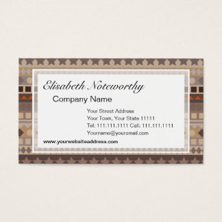 Man's Tribal Aztec Stripes Brown and Beige Pattern Business Card