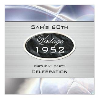 Mans Vintage 60th Silver Metal Black Birthday 5.25x5.25 Square Paper Invitation Card