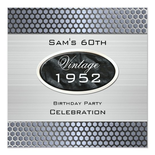 Mans Vintage 60th Silver Metal Look Birthday Card