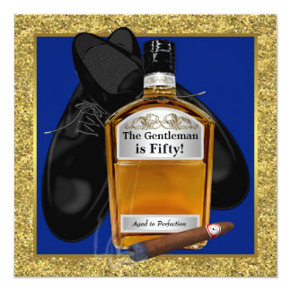 Mans Whiskey Birthday Party Card