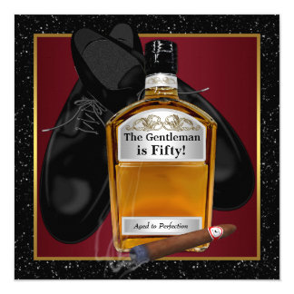 Mans Whiskey Birthday Party Announcement Card