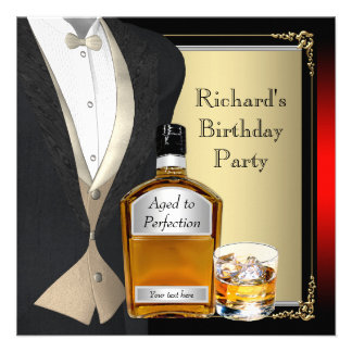 Mans Whiskey Birthday Party Personalized Invitations