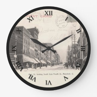 Mansfield Ohio Post Card Clock - Main St 1907