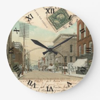 Mansfield Ohio Post Card Clock Main St 1909
