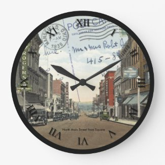 Mansfield Ohio Post Card Clock - N. Main St 1938