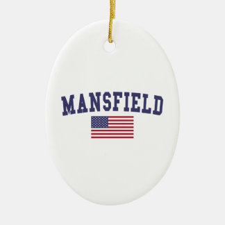 Mansfield TX US Flag Ceramic Ornament