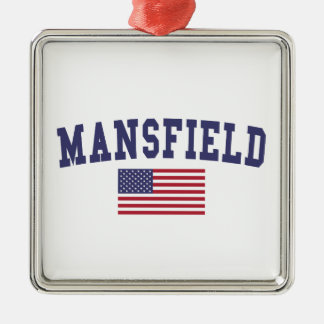 Mansfield TX US Flag Metal Ornament