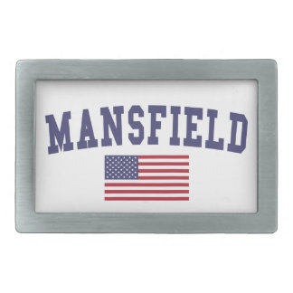 Mansfield TX US Flag Rectangular Belt Buckle