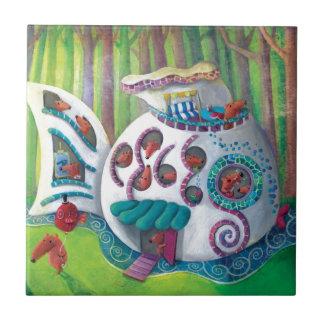 Mansión mágica de los pescados en el bosque teja cerámica
