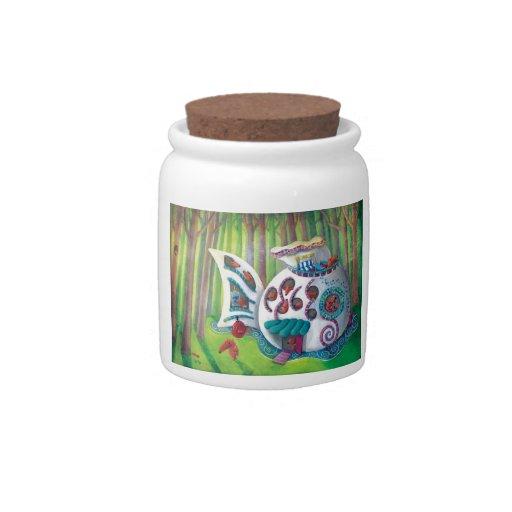 Mansión mágica de los pescados en el bosque jarras para caramelos