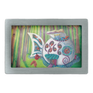 Mansión mágica de los pescados en el bosque hebilla cinturon rectangular