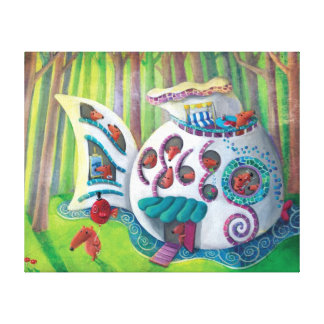 Mansión mágica de los pescados en el bosque impresión en lienzo