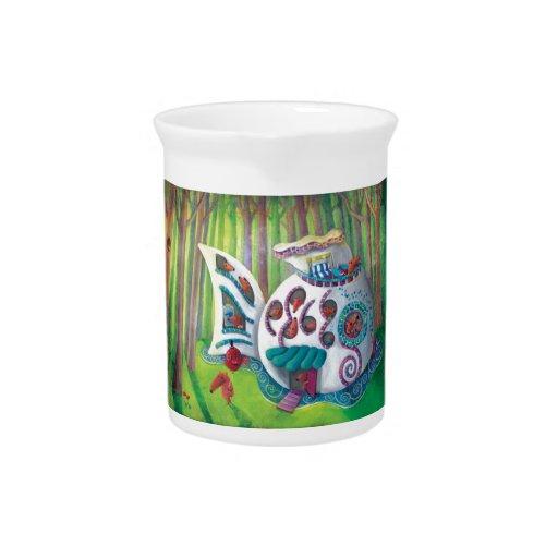 Mansión mágica de los pescados en el bosque jarras para bebida