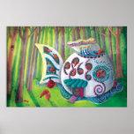 Mansión mágica de los pescados en el bosque posters