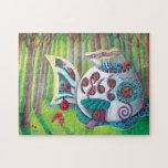 Mansión mágica de los pescados en el bosque puzzle con fotos