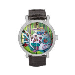 Mansión mágica de los pescados en el bosque reloj de mano