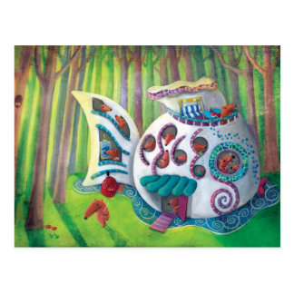 Mansión mágica de los pescados en el bosque tarjeta postal