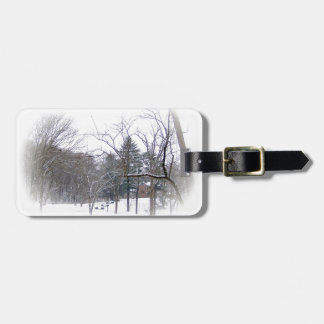 Mansion on Snowy Hill in White Matte Tags For Luggage