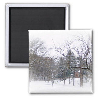 Mansion on Snowy Hill in White Matte Magnet