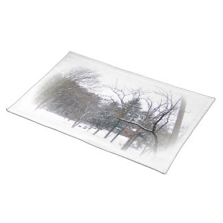 Mansion on Snowy Hill in White Matte Place Mat