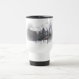 Mansion on Snowy Hill in White Matte Travel Mug