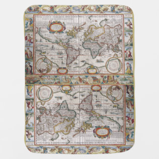 Manta antigua del bebé del mapa del mundo mantitas para bebé