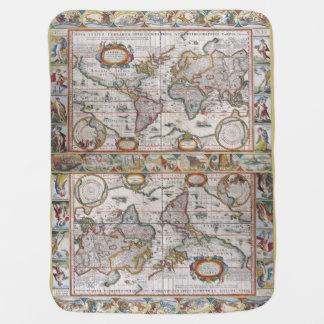 Manta antigua del bebé del mapa del mundo mantas de bebé