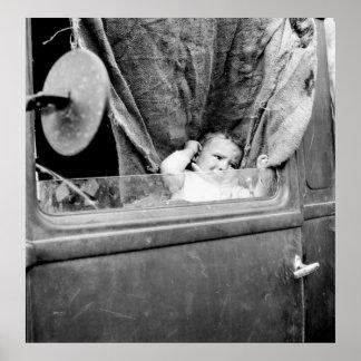 Manta áspera del bebé, los años 30 poster
