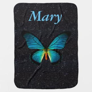 Manta azul de encargo del bebé del brillo del manta de bebé