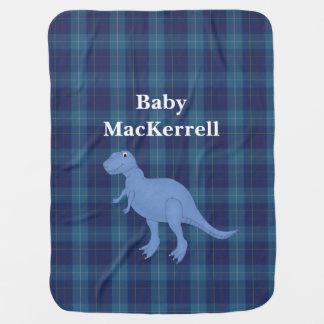 Manta azul del bebé de la tela escocesa de tartán  manta de bebé
