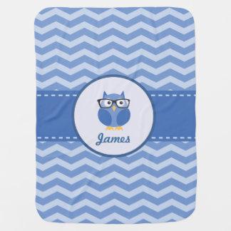 Manta azul del bebé del búho del inconformista manta de bebé