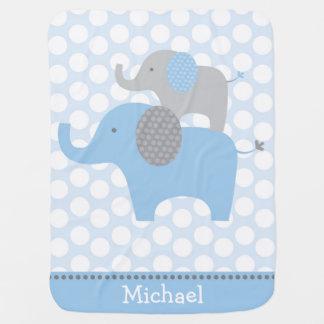 Manta azul del bebé del elefante manta de bebé