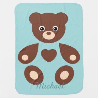 Manta azul del bebé del monograma del oso de peluc