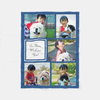 Manta azul personalizada del collage de la foto manta de forro polar