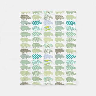 Manta azul y verde del hipopótamo manta de forro polar