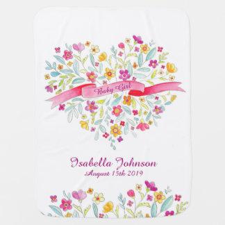 Manta bonita del bebé del corazón de la flor de mantitas para bebé