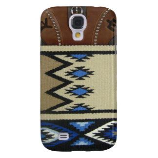 """""""Manta de caballo y cuero azules occidentales"""" IPh Funda Para Galaxy S4"""