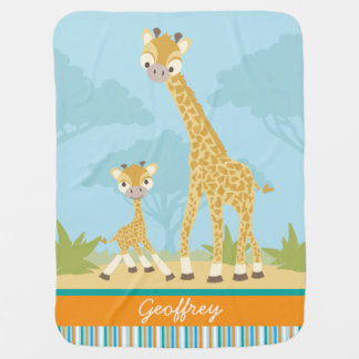 Manta de encargo del bebé de la jirafa mantita para bebé