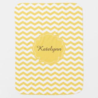 Manta de encargo del bebé del zigzag amarillo de mantas de bebé