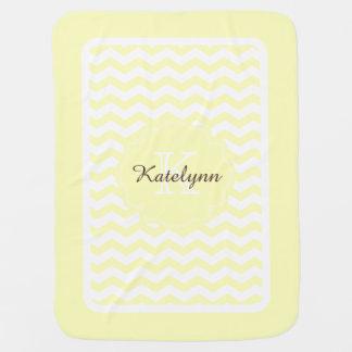 Manta de encargo del bebé del zigzag amarillo en mantita para bebé