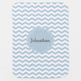 Manta de encargo del bebé del zigzag azul de mantita para bebé