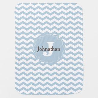 Manta de encargo del bebé del zigzag azul de mantas de bebé