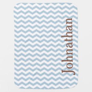 Manta de encargo del bebé del zigzag azul en mantita para bebé