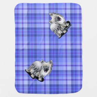 Manta de plata del bebé de la tela escocesa de Pom Mantas De Bebé