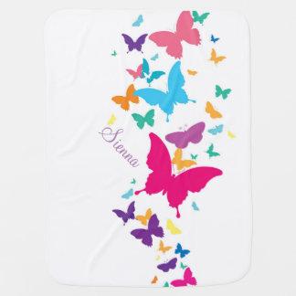 Manta del arco iris de la mariposa mantas de bebé