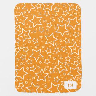 Manta del bebé con el naranja y el blanco de las e manta de bebé