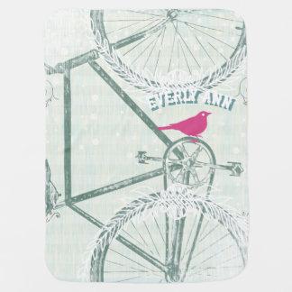 Manta del bebé de la bicicleta del vintage mantita para bebé
