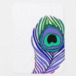 Manta del bebé de la pluma del pavo real