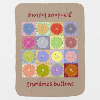 Manta del bebé de los botones de las abuelas manta de bebé